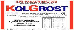 Styropian KOLGROST fasada EPS 039  cena m3