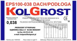 Styropian KOLGROST EPS100-038 DACH / PODŁOGA (100kPa) 3 tony/m2 cena m3
