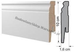 Listwa przypodłogowa 10cm MDF L10 ryfla biała 100x16mm od ręki Warszawa!, cena za mb